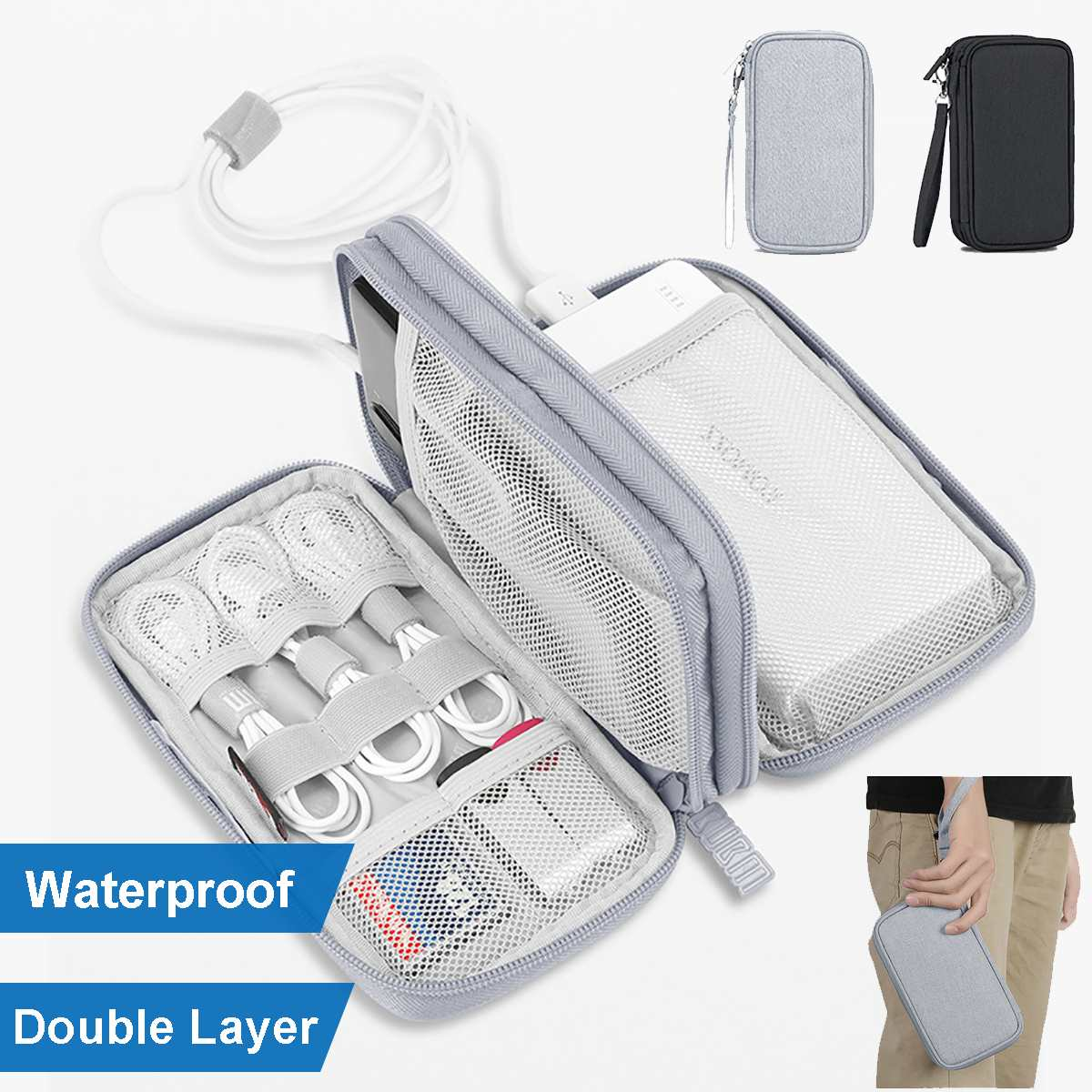 Double Layer Digital Accessories Bag Charging Treasure Mobile Phone Pouch Headphone Cable Data Cable For Traveling Organizer Bag