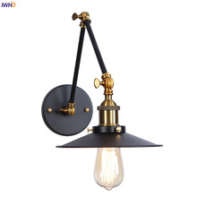 IWHD Wandlamp Edison Retro Wall Light Bedroom Mirror Stair Adjustable Swing Long Arm Vintage Wall Lamp Sconce Lampara Pared LED iwhd swing long arm wall light up down vintage glass wall lamp led bedroom iron wandlamp home lighting edison bulb light