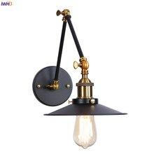 IWHD Wandlamp Edison Retro Pared luz dormitorio espejo escalera ajustable oscilación brazo largo Pared vintage lámpara aplique lámpara LED