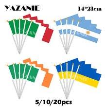 YAZANIE 14*21cm 5/10/20 sztuk włochy argentyna irlandii ukrainy małymi dłońmi, która odbyła się flaga poliester kraj narodowy drukarnie flaga