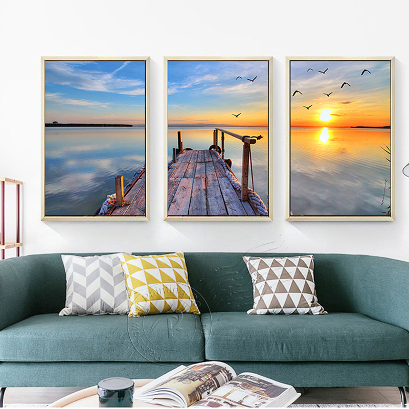 3Pcs Seascape Canvas Painting Print On Canvas Posters Nordic Style Landscape Modern Wall Art Pictures For Living Room Unframed