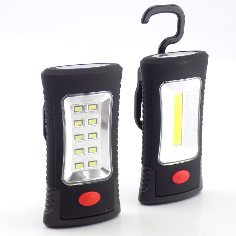 2 LEDs COB Work Flashlight Protable Hand Magnetic Camping With Hook Stand Flash Light Torch Lamp AAA Battery Working Lighting