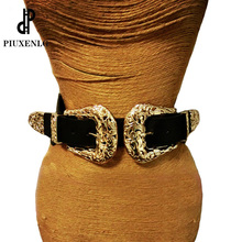 Retro Ladies Belt Metal Double Pin Buckle Women's Leather Belts
