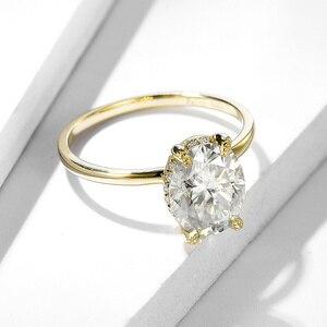Image 3 - Kuololitรูปไข่8X10 Moissaniteแหวนผู้หญิงแหวนทองคำขาว10K Dสีฟ้าสีเขียวSolitaireหมั้นเครื่องประดับFine 585