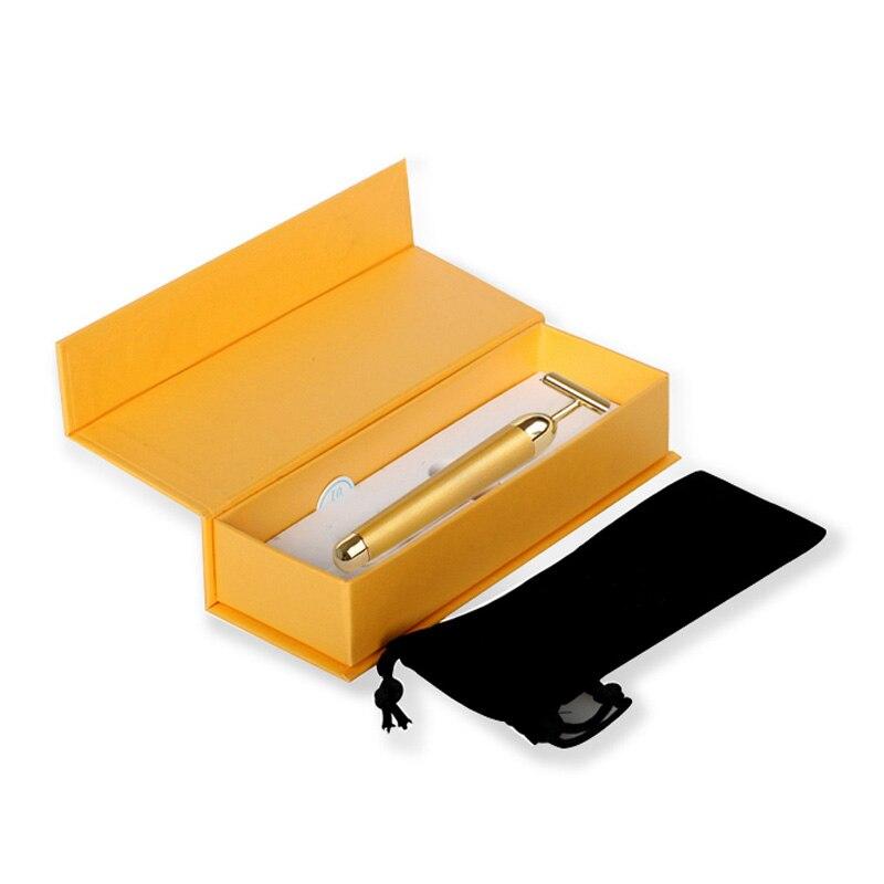Ролик для похудения лица 24k золотой цвет Вибрационный лицевой валик для красоты массажер палочка подтяжка кожи морщинка подтяжка лица Бар - Цвет: with box