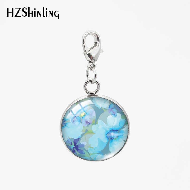 2019 Azul Flor Redonda de Vidro Pingentes Encantos Redonda de Aço Inoxidável Destacável Colar ou Chaveiro