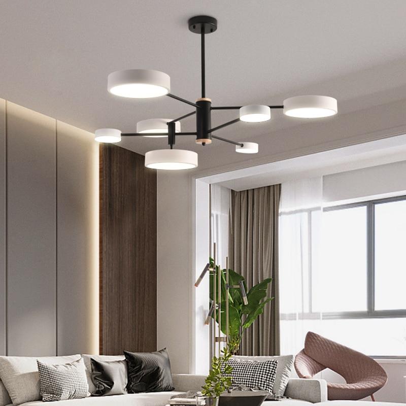TRAZOS Solid Wood LED Pendant Lights For Dining Room Hardware Wooden Suspension Lighting Resturant Kitchen Triple Cord Hanglamp
