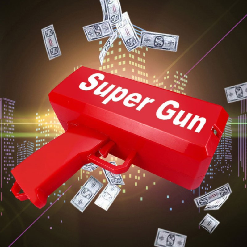 Make It Rain Money Gun Red Fashion Toy Christmas Gift Party Toys Game Spit Banknotes Cash Cannon Pistol 452345