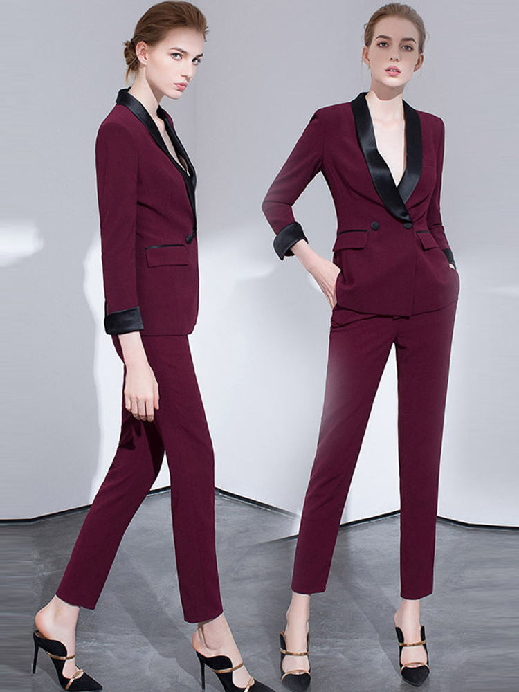 Women S Office Suits Set Professional Female Business Lady Suit Plus Size Wine Red Pant Tailor Designer Made 2019 Free Ship