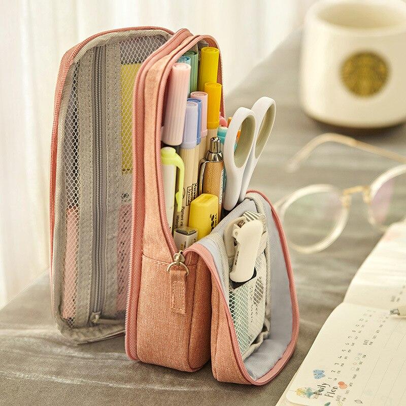 Angoo-Bolsa de lápices de dos capas, soporte plegable de tela para teléfono, almacenamiento para papelería, oficina y escuela, Normcore, A6171 1