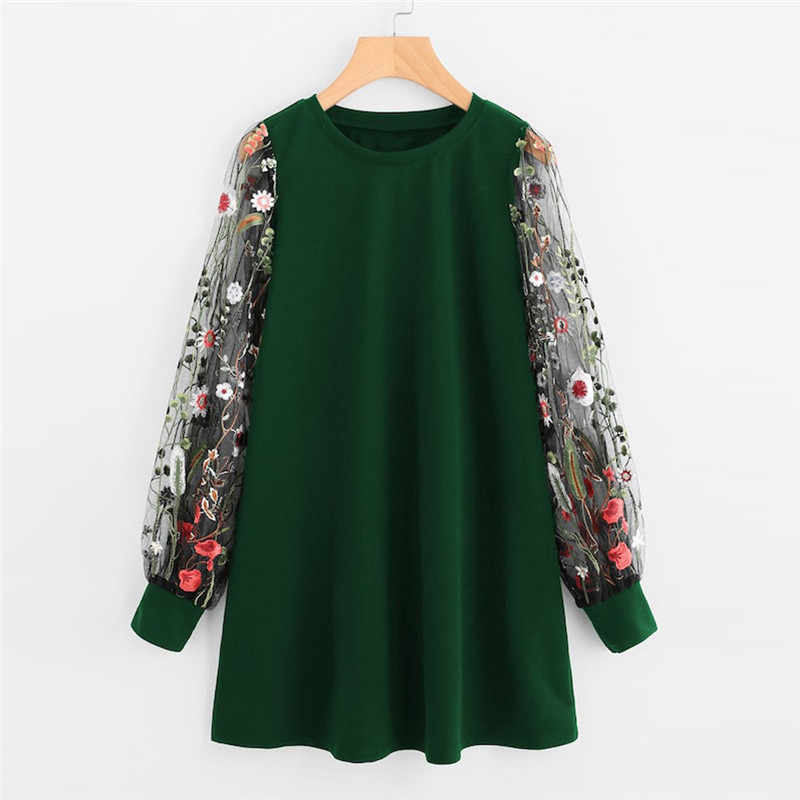 Women Dress 2019 Fashion Flower Embroidered Mesh O-Neck Long Sleeve Straight Dress Spring Autumn Pullover Sweatshirt Mini Dress