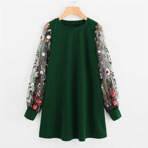 Women Dress 2019 Fashion Flower Embroidered Mesh O-Neck Long Sleeve Straight Dress Spring Autumn Pullover Sweatshirt Mini Dress(China)
