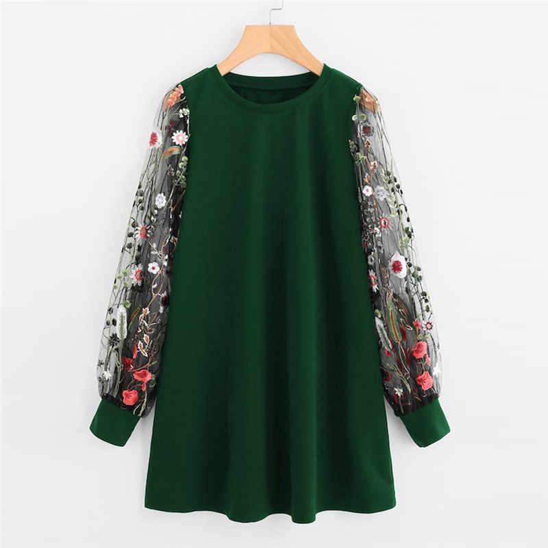 Women Dress 2019 Fashion Flower Embroidered Mesh O-Neck Long Sleeve Straight Dress Spring Autumn Pullover Sweatshirt Mini Dress