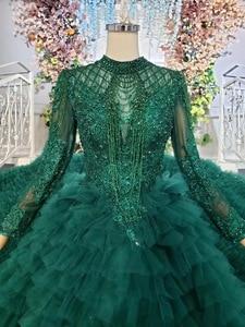 Image 3 - Tier שכבה חצאיות ארוך רכבת ירוק כדור שמלת חתונת שמלות 2019 ראפלס כלה חתונה שמלת טול Tessal חתונה שמלות