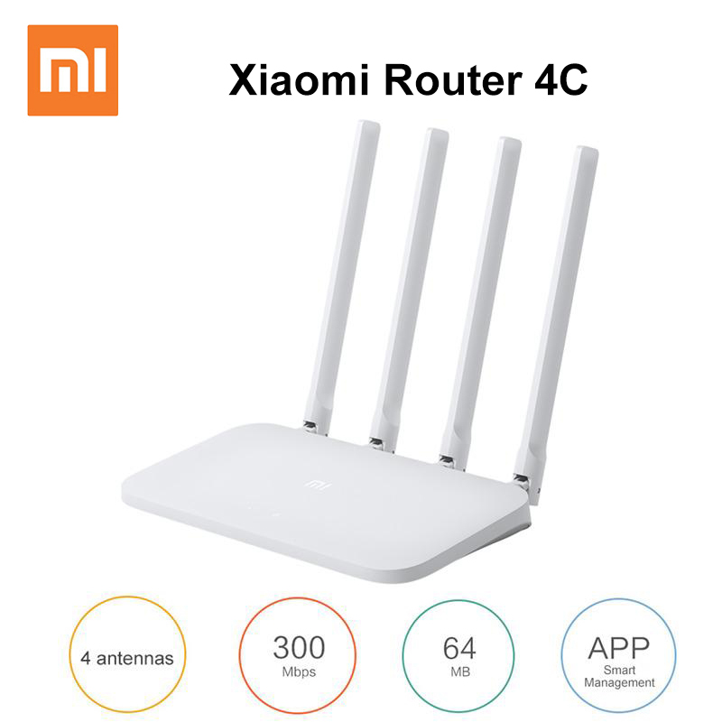 Original Xiaomi WI-FI Router 4C Roteador APP Control 64 RAM 802.11 B/g/n 2.4 G 300Mbps 4 Antennas Wireless Routers Repeater