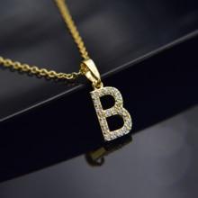 De circón cúbico alfabeto colgantes de oro de Color plata de cobre Mini A-Z carta colgante collar brillante 26 inicial Collares de la joyería