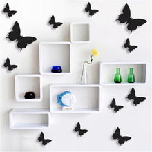 12 unids/lote 3D DIY mariposa pegatinas de pared casa decoración cartel para la cocina cuarto de baño adhesivo pared decoración @ 2(China)