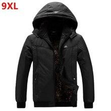 特大男性のジャケット大男厚いコート冬特大帽子 datachable 防水ジャケット 9XL 8XL 黒プラスサイズパーカー