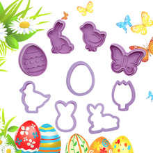 4Pcs/Set Food Grade Plastic Rabbit Buttterfly Easter Cookie Mold Biscuit Cutter Baking Tools Easter Egg Die Fondant Cake Tools