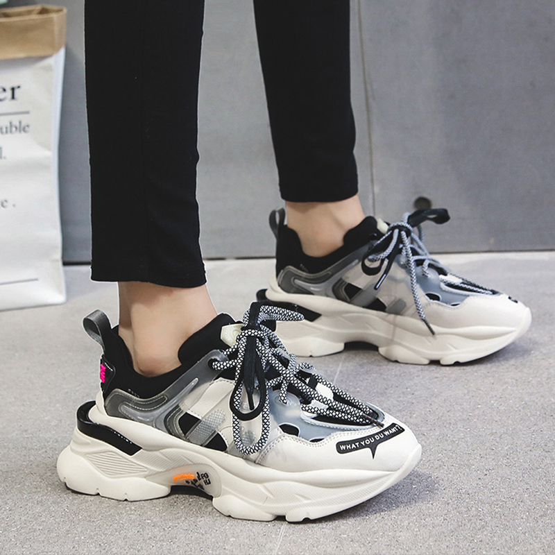 Ins Hot Sneakers Women Trendy Chunky Dad Shoe Laces Platform Shoe New Color Matching Cross -tied Sneakers Tenis Chaussures 35-43