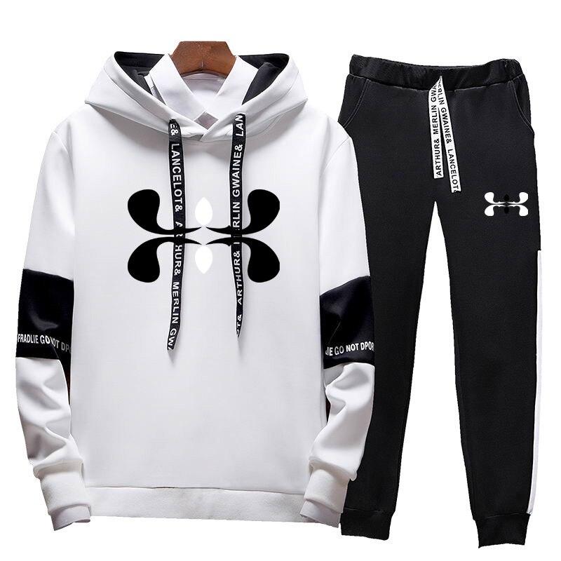 Fashion Brand Men Hoodies Set 2019 Autumn Fashion Casual Tracksuit Mens Set Sports Two Piece Patchwork Hoodie Pant Male Suit