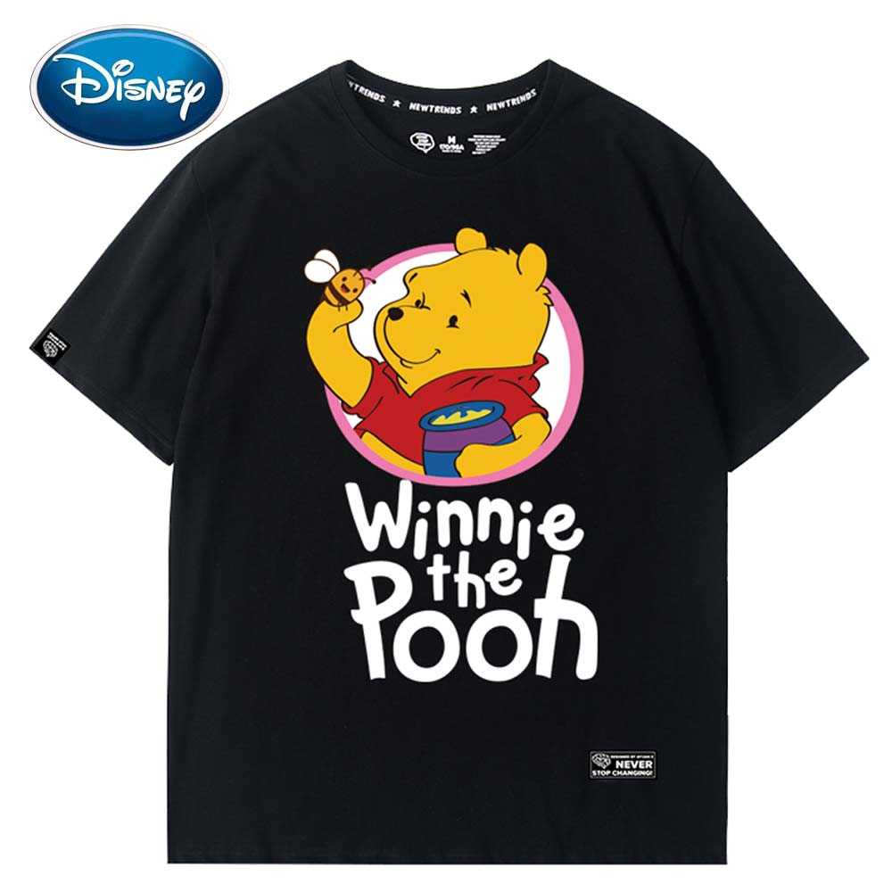 Disney Stylish Winnie The Pooh Bear Letter Cartoon Print O-Neck Pullover Short Sleeve T-Shirt Cute Women Loose Tee Tops 5 Colors
