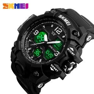 Image 1 - SKMEI montre de Sport pour hommes, Top marque, militaire numérique, étanche 5 bars, double affichage, étanche
