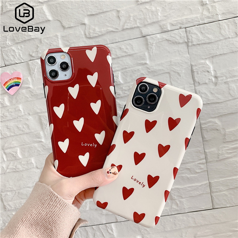 Lovebay Love Heart Cute Glossy Case For iPhone 11 Pro Max X XS Max XR Soft IMD Case For iPhone 7 8 Plus Back Cover Shell Fundas