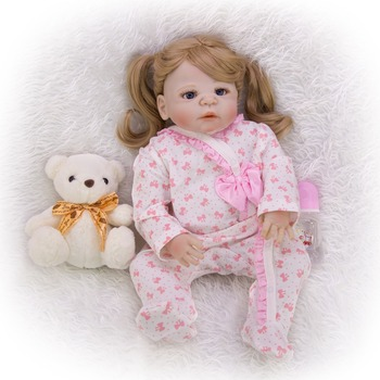 Reborn Baby Dolls with Hug bear Toy Silicone reborn baby Lifelike 23'' Babies princess Dolls Girl childen Gift For 2020 hot Sale