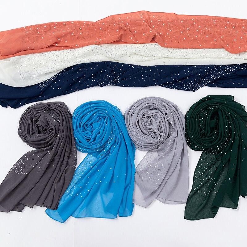 Chiffon Hijab Scarf Shawls Glitter Rhinestone Musulman Islamic Muslim Women Femme Summer
