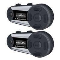Fodsports 2 stücke V6 Plus Helm Intercom Motorrad Helm Headset Drahtlose Bluetooth 6 Fahrer 1200M BT Sprech FM LED
