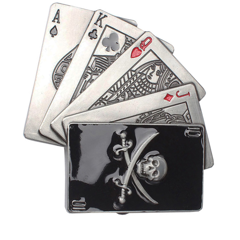 Funny Craved Poker Card Skull Metal Belt Buckle Head For Western Men Cowboy