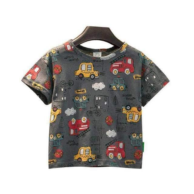 VIDMID Summer New Men's Clothes Children's Boys' Top Cartoon Car Pure Cotton Short Sleeve Casual Round Neck T-shirt P107 1
