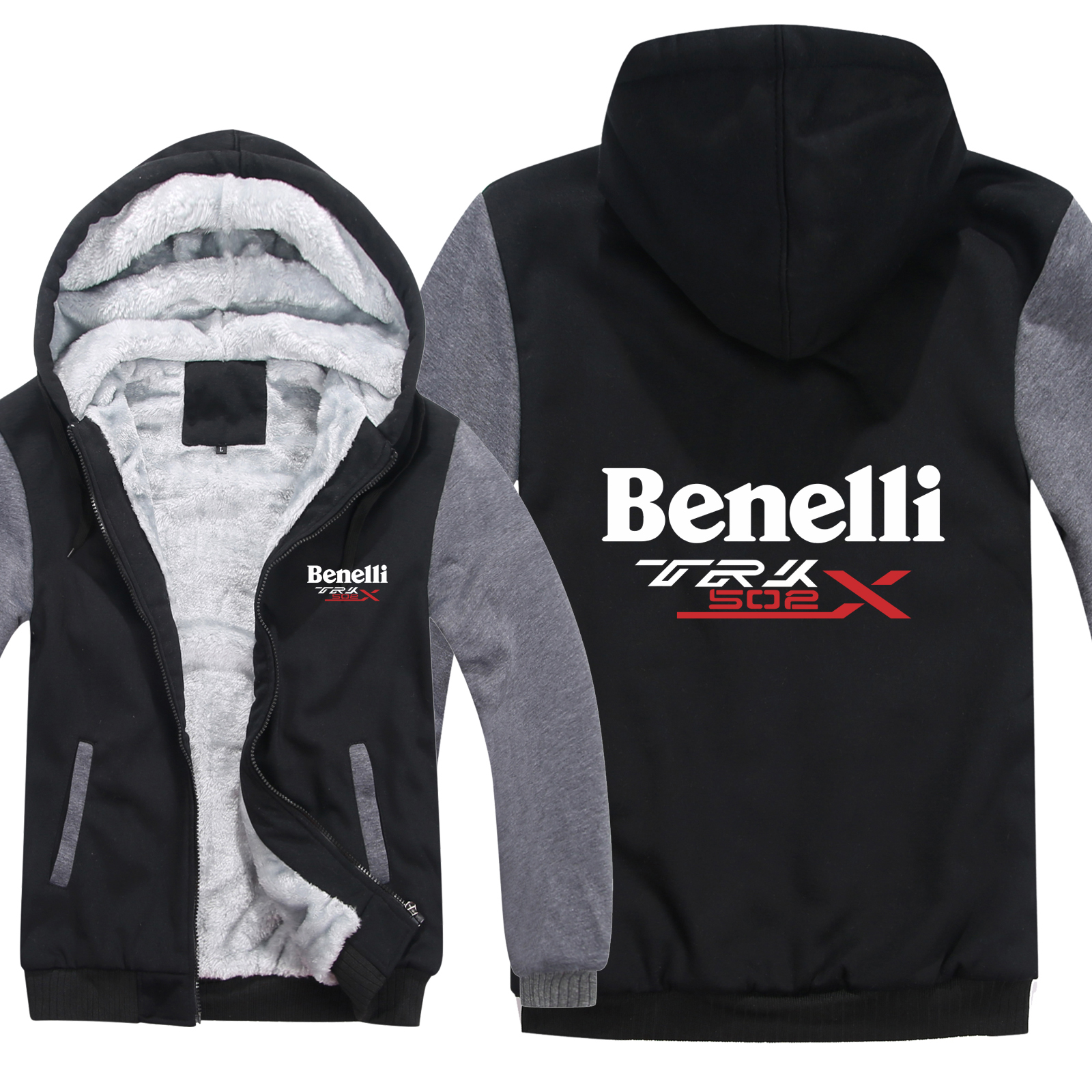 Cartoon Jacket Hoodies Sweatshirt Benelli Trk Winter Zipper Fleece Thicken 502X title=