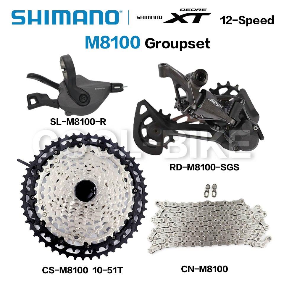 Shimano 12 Скорость указано DEORE XT M8100 указано MTB горный велосипед 1x12-Скорость рычаг переключения передач задний переключатель 51T кассета с цепью