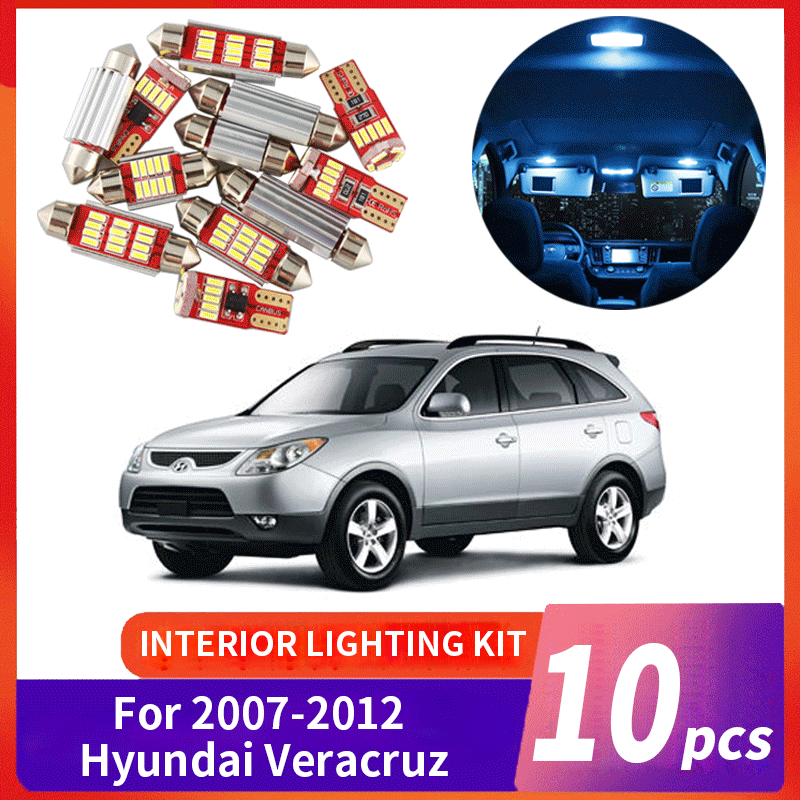 10Pcs White Canbus LED Lamp Car Bulbs Interior Package Kit For 2007-2012 Hyundai Veracruz Map Dome Trunk Plate Light