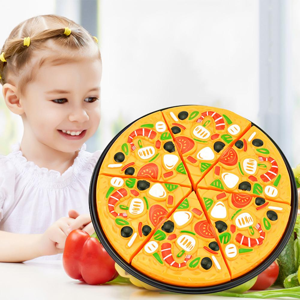 Plastic Miniature Food Cut Vegetables Toy Pizza Kid's Pretend Play Educational Kitchen Toys For Girls And Boys