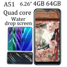 4G RAM Smartphones Android A51 6,26 zoll 64GB ROM 13mp HD Wasser Tropfen voller Bildschirm Quad Core Handys gesicht Entsperrt Celular