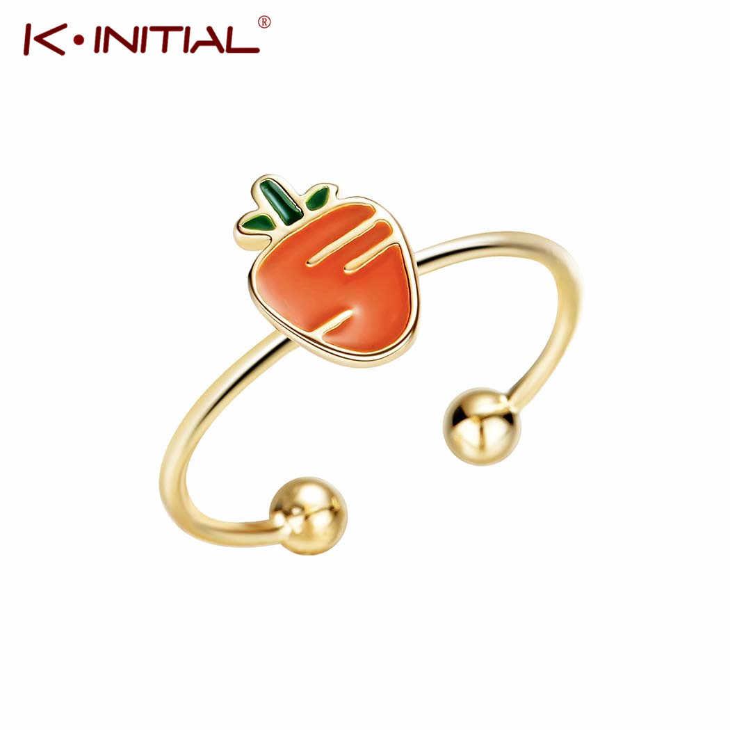 Kinitial ใหม่แครอทแหวนเปิดออกแบบน่ารักแฟชั่นเครื่องประดับนิ้วมือแหวนเคลือบสำหรับหญิงสาวสาวเด็กของขวัญแหวน