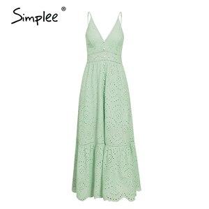 Image 2 - Simplee zarif kayış uzun yaz elbisesi kadın V boyun düğmesi seksi dantel elbise kadın rahat beyaz maxi elbise festa vestidos 2019