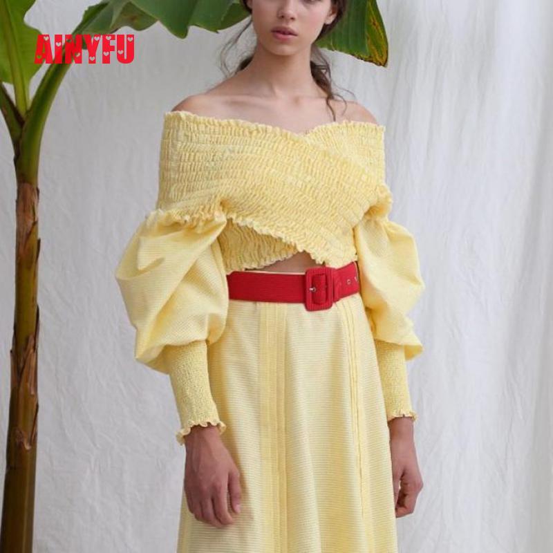 Ainyfu Fall V hals Solid Lange Bubble Mouw T shirt Vrouwen Streetwear Slanke Korte Kleding Femme Vouw Off Shoulder Crop dames Tops - 5