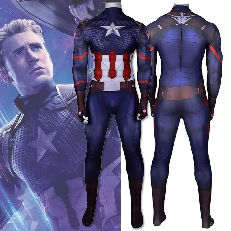 Мстители завершающей Капитан Америка Косплэй костюм супергерой zentai боди для детей и взрослых, цифровая печать, один размер, комбинезон одиного костюма