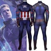 Avengers Endgame Captain America Cosplay Costume Zentai Superhero Bodysuit Adults Kids Digital Printing One Piece Jumpsuits