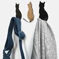 Вешалки для полотенец  2 шт.  самоклеющиеся крючки с рисунком кошки  держатель для хранения  для ванной  кухни  вешалка  палка на стену  для две...