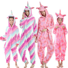 Family Matching Outfit Baby Boy Girl Pajamas Unicorn Winter Women Pyjamas Cartoon Animal Onesie Kigurumi Kids Sleepwear Jumpsuit