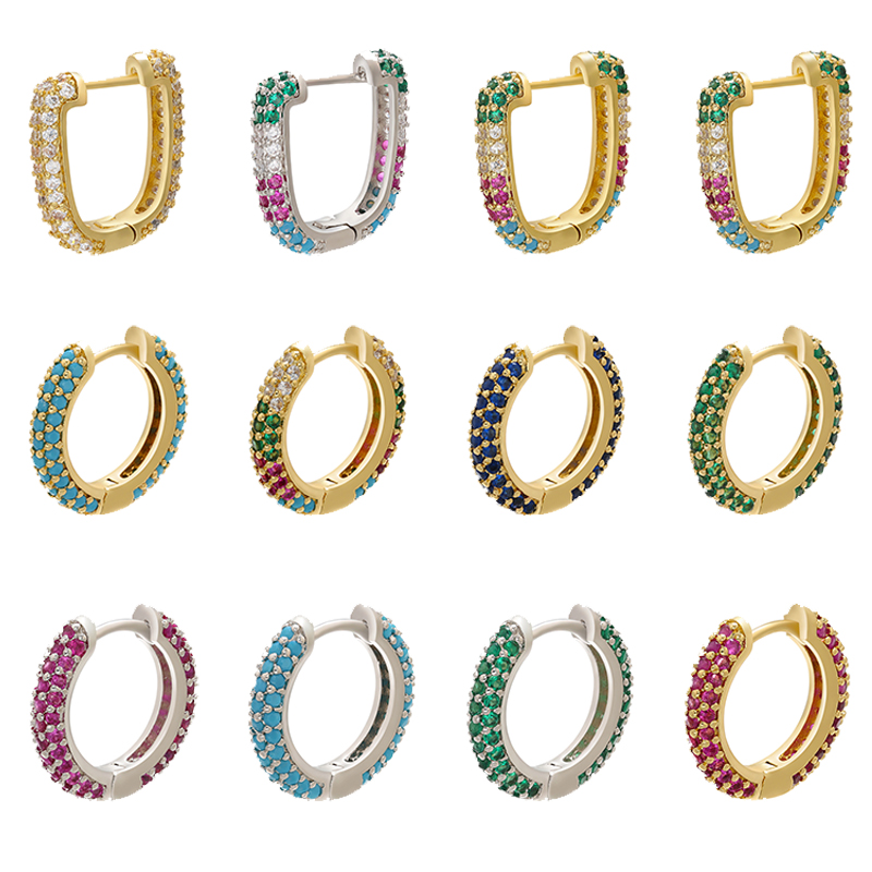ZHUKOU 1piece CZ crystal small hoop earring for women gold/silver color rainbow Round/rectangle hoop earring Jewelry VE222 VE251