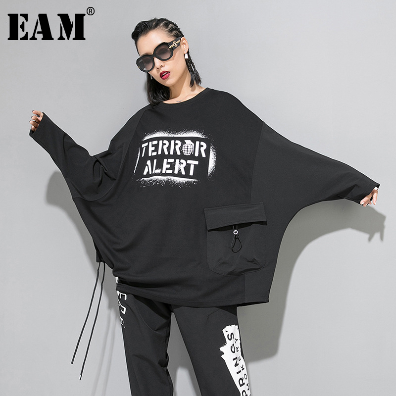 [EAM] Women Print Loose Fit Oversize Drawstring T-shirt New Round Neck Long Sleeve Fashion Tide Spring Autumn 2019 1B789