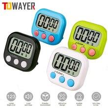Minuterie de cuisine numérique à gros chiffres, alarme forte, support magnétique avec grand écran LCD pour la cuisine, cuisson, jeux de sport