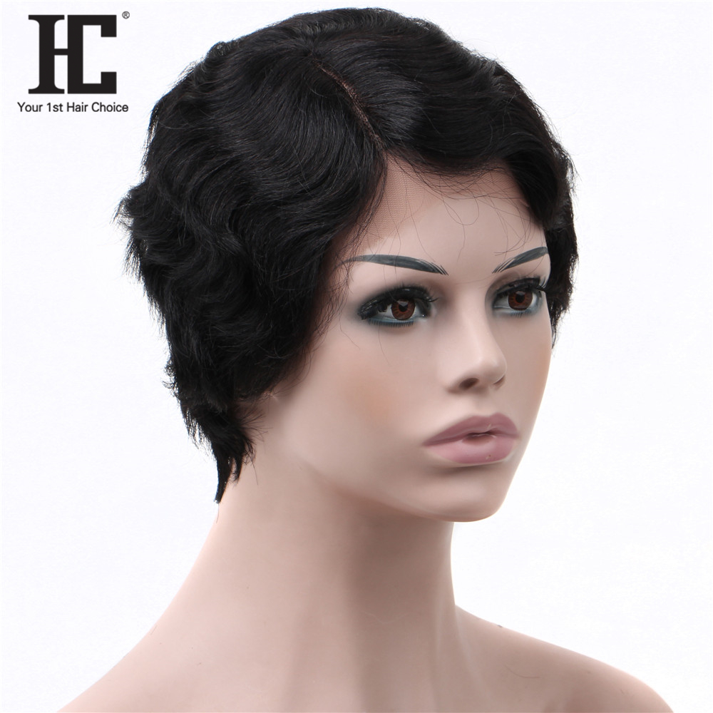 Lace Part Short Bob Human Hair Wigs Brazilian Wavy Lace Wig Pre Plucked Remy Human Hair Wigs 150% Natural Hairline
