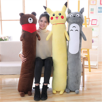 Explosion style removable plush toy long pillow cartoon anime Pikachu Totoro brown bear cylindrical sofa cushion